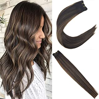 JoYoung Brazilian Weave Bundle Human Hair Extensions Ombre Darkest Brown Mixed with Medium Brown Straight Bundle Hair Weft Hair Extensions Sew in Human Hair 100g 14inch