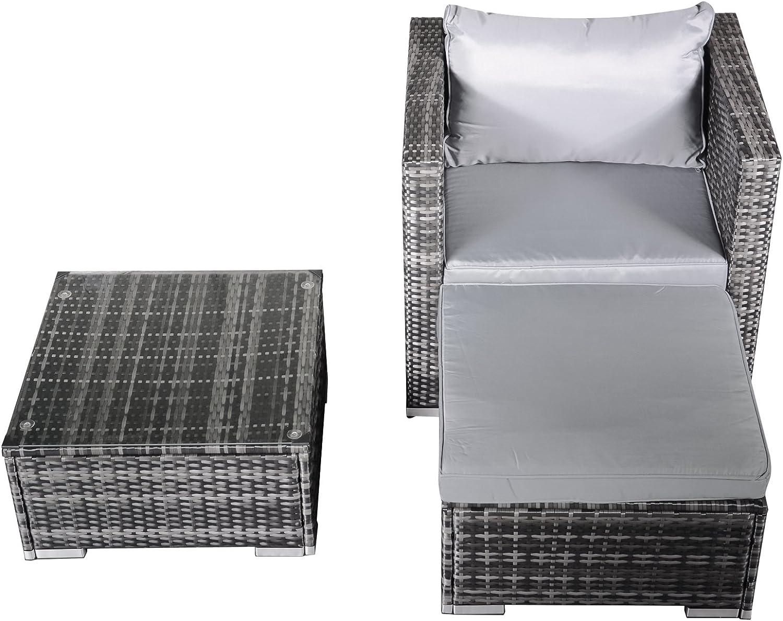 Hansson Polyrattan Gartenmbel Lounge Set Sitzgruppe Garnitur Poly Rattan inkl. Sofa Sessel Kissen Hocker Tisch mit Glas (1 x Sessel, 1 x Tisch & Hocker)
