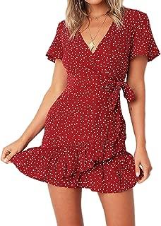 Relipop Summer Women Short Sleeve Print Dress V Neck...