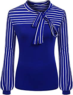 Wintialy Ladies Tie-Bow Neck Striped Long Sleeve Splicing Autumn Shirt