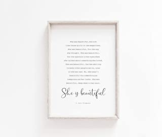 MalertaART She was Beautiful Printable Wall Art F Scott Fitzgerald Quote Literary Typography Quote Framed Wall Art