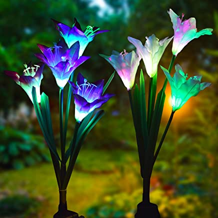Lvyleaf Solar Light Garden Lights Lily Flowers Solar Light with Colour Changing LED Lamps, Outdoor Decoration Lights for Garden/Lawn/Field/Patio/Path