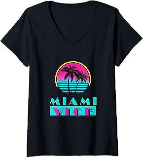 Womens Vintage Miami Florida Cityscape Retro Graphic Apparel V-Neck T-Shirt