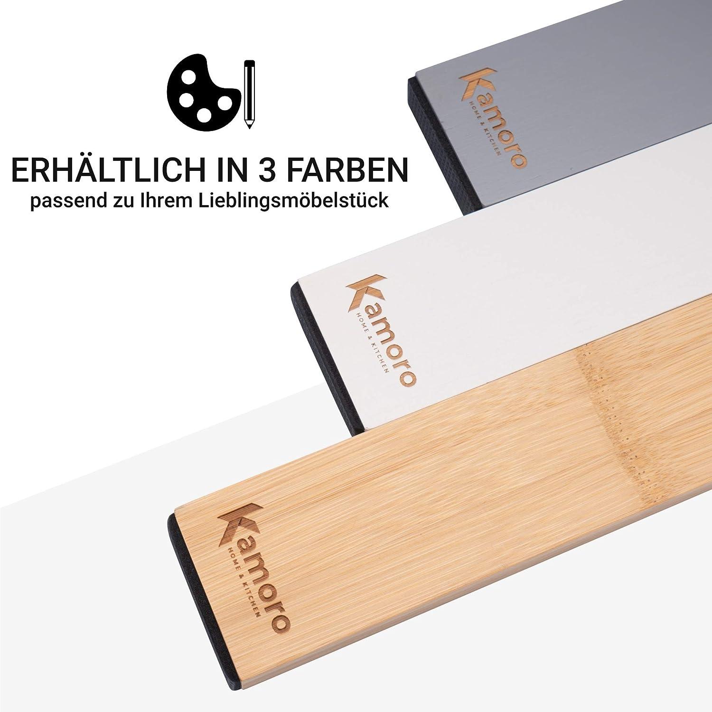 Organiseur r/églable entre 45 et 57 cm Gris Kamoro HOME /& KITCHEN Lot de 4 s/éparateurs de tiroir en bambou naturel