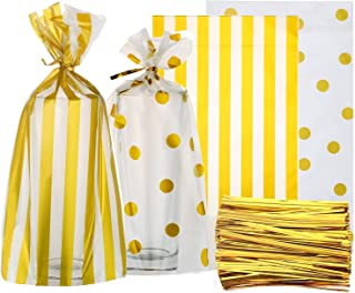 OFNMY 100pcs Cello Cellophane Bags Gold Polka Dot Cookie Bags and Striped Plastic 6 x 10 inch Candy Bags with 200 Pieces Twist Ties for Treat Candy