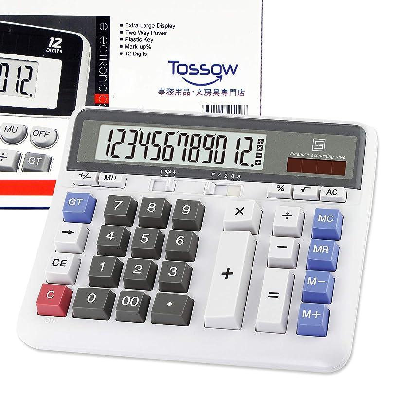 許さない購入それからTOSSOW 電卓 12桁 実務電卓 キーボードボタンデザイン 簿記 計算機 大型 四捨五入 ソーラー 電池 二重電源 電子計算機