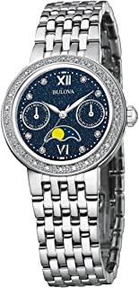 Ladies Day Date Moon Phase Diamond and stainless Steel watch