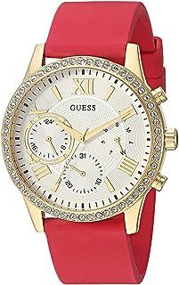 ساعة جيس مريحة ذهبية اللون + أحمر من السيليكون المقاوم للبقع مع النهار، التاريخ + 24 ساعة عسكرية/الوقت الدولي. اللون: أحمر...