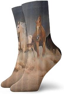 QUEMIN, Calcetines transpirables para caballos Calcetines exóticos modernos para mujeres y hombres Calcetines deportivos estampados deportivos 30 cm (11,8 pulgadas)