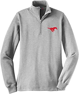 NCAA SMU Mustangs Women's 1/4 Zip Pullover, X-Small, Athletic Heather