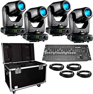 (4) American DJ Focus Spot Three Z 100W LED Moving Head Spot Lights with Road Case & DMX Controller Package