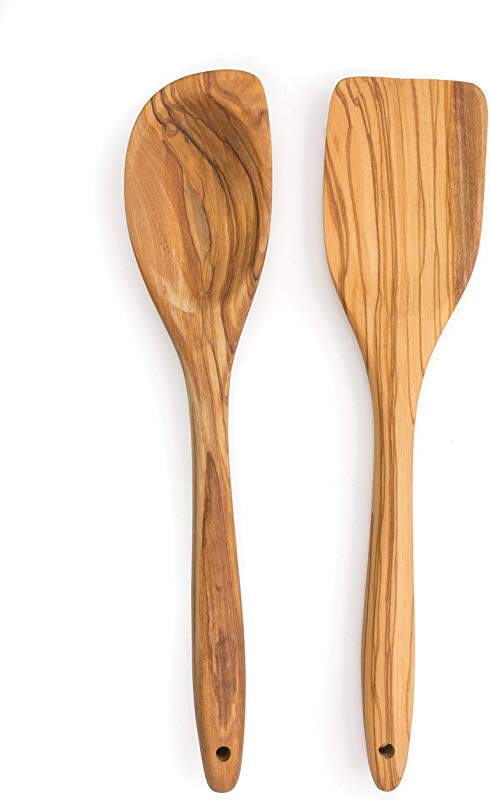 RSVP Set Of 2 Olive Wood Utensils Curved Spoon And Spatula