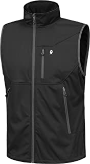 Men's Lightweight Softshell Vest, Windproof Sleeveless Jacket for Travel Hiking Running Golf