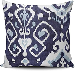 ONGING Decorative Throw Pillow Case Modern Chic Decorative Blue and White Ikat Pillowcase Cushion Cover One Side Design Printed Square Size 16x16 inch