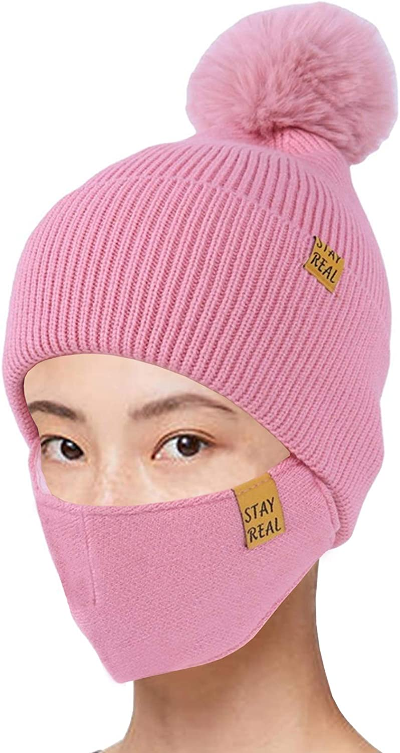 2-Pieces Winter Beanie Hat Face Mask Set Winter Knit Skull Cap Hat Adjustable Face Mask Beanie for Women Girls