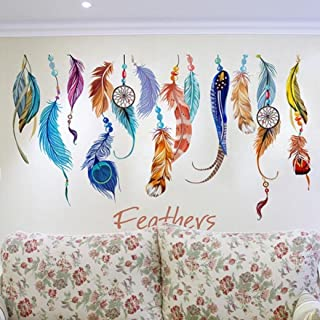 Franterd Wall Stickers, Classic Creative Dream Catcher Feather Art Decal Mural Home Room Decor