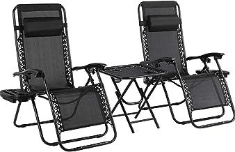 MVPower 3-delige Tuinstoel Relax stoelen ligstoelenset opvouwbaar met bijzettafel verstelbaar hoofdkussen, ergonomische ad...