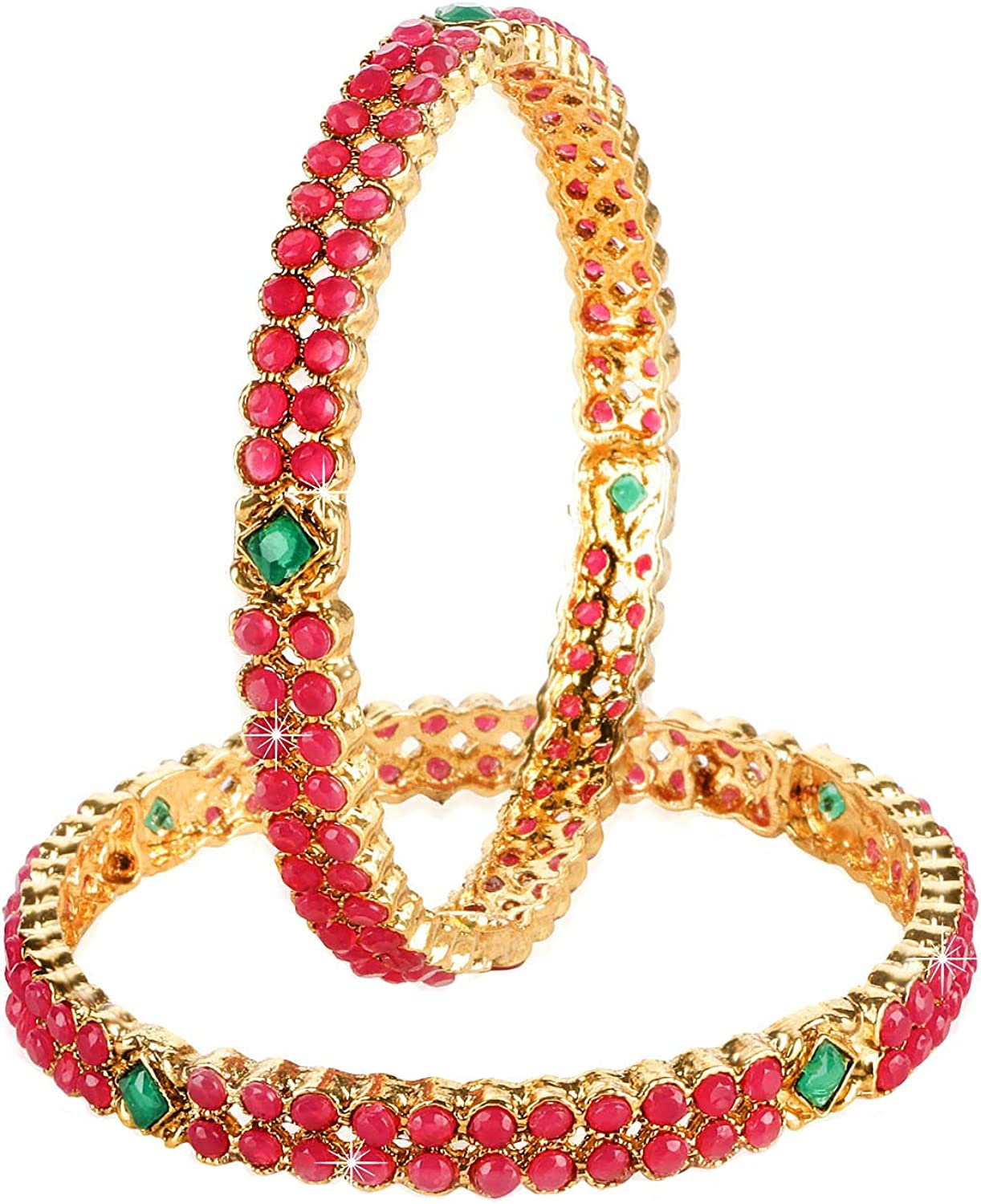 Yellow Chimes Ruby Stones Studded Indian Bollywood 2 PC Traditional Gold Plated Party Ware Bangle Set Indian Traditional Jewelry for Women