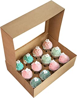 [15-Packs] Brown Cupcake Boxes 12 Holders,ONE MORE Cake Carrier Food Grade Kraft Pop-up Bakery Boxes 13.8 x 9.5 x 4inch with Inserts and PVC Windows Fits 12 Cavity Cupcake or Muffins