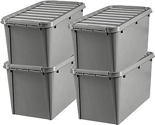 SmartStore - Recycled 70 - Lot de 4 Boîtes de Rangement - 100% Plastique Recyclé - Gris - 72 x 40 x 38 cm - 70l