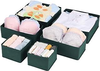comprar comparacion UMI. by Amazon - Organizadores de Cajones de 3 tamaños, Set de 6 Cajas Organizadoras de Cajones para Ropa Interior, Calcet...