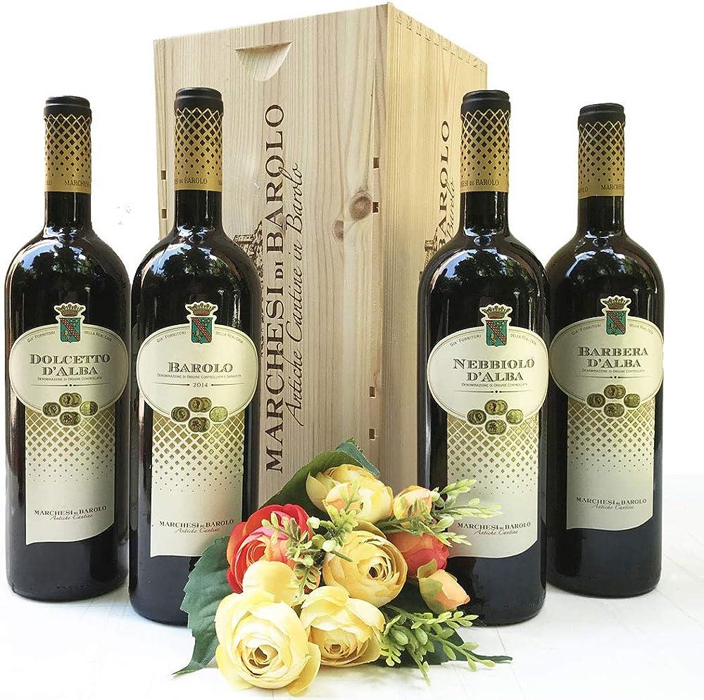 Wine gift baskets,cassetta grandi vini marchesi di barolo piemonte - confezioni regalo vini pregiati 262 VINO
