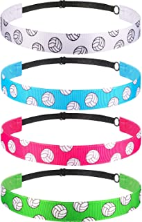 4 Pack Girls Volleyball Headbands No Slip Adjustable Hairband for Sport Activity (Color B)