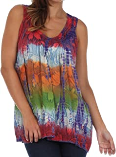 Women's Tie Dye Floral Sequin Sleeveless Blouse