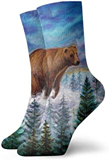 tyui7, Forest Bear Oil Painting Calcetines de compresión antideslizantes Cosy Athletic 30cm Crew Calcetines para hombres, mujeres, niños