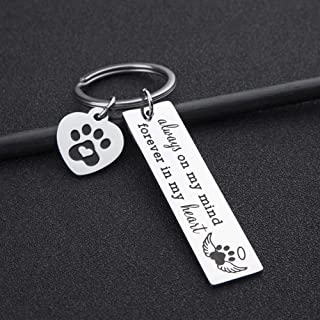 Pet Dog Memorial Keychain for Pet Dog Cat Lover Sympathy Gift Loss of Dog Personalized Remembrance Key Chain with Dog Cat Paw Prints Gifts Forever in My Heart for Pet Owner Men Women