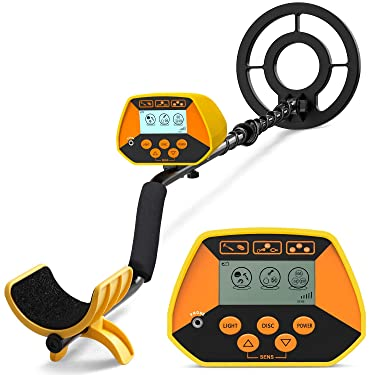 sakobs Metal Detector, High Accuracy Waterproof Metal Detectors with LCD Display & LED Light, Discrimination & All Metal Mode 8.6 Inch Search Coil for Adults & Kids