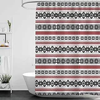 homecoco Shower Curtains Kraken Nordic,Scandinavian Style Norwegian Ornamental Winter Motif Silhouettes Traditional,Ruby Black White W48 x L72,Shower Curtain for Shower stall