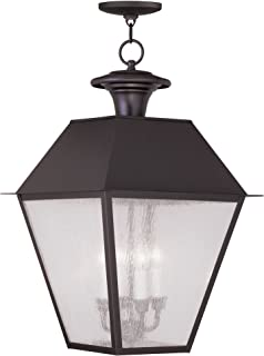 Royce Lighting RLCA5158G-23 Outdoor Portable Candle Lantern with Gold Candle Holder in Oil Rubbed Bronze Finish
