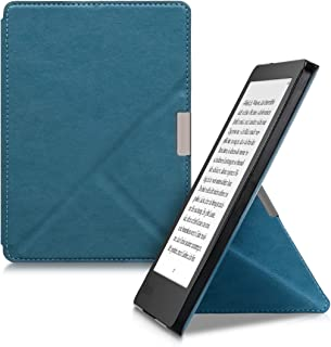 kwmobile Origami Case for Kobo Aura Edition 2 - Ultra Slim Fit Premium PU Leather Cover with Stand - Petrol