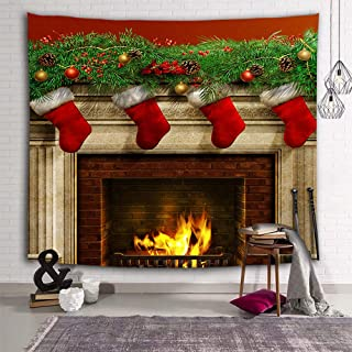 DEQI Christmas Tapestry Wall Hanging Xmas Fireplace Stockings Wall Tapestry for Party Livingroom Bedroom Dorm Home Decor W59 x L51