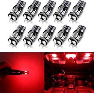 Antline 194 168 2825 T10 W5W Error Free LED Bulb Red, Super Bright 300 Lumens 10-SMD 5730 Chipset LED Bulbs for Interior Dome Map Door Courtesy License Plate Lights, Pack of 10