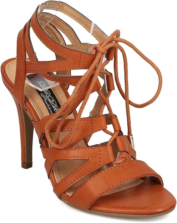 DBDK Women Leatherette Open Toe Caged Lace Up Stiletto Sandal EH83 - Camel