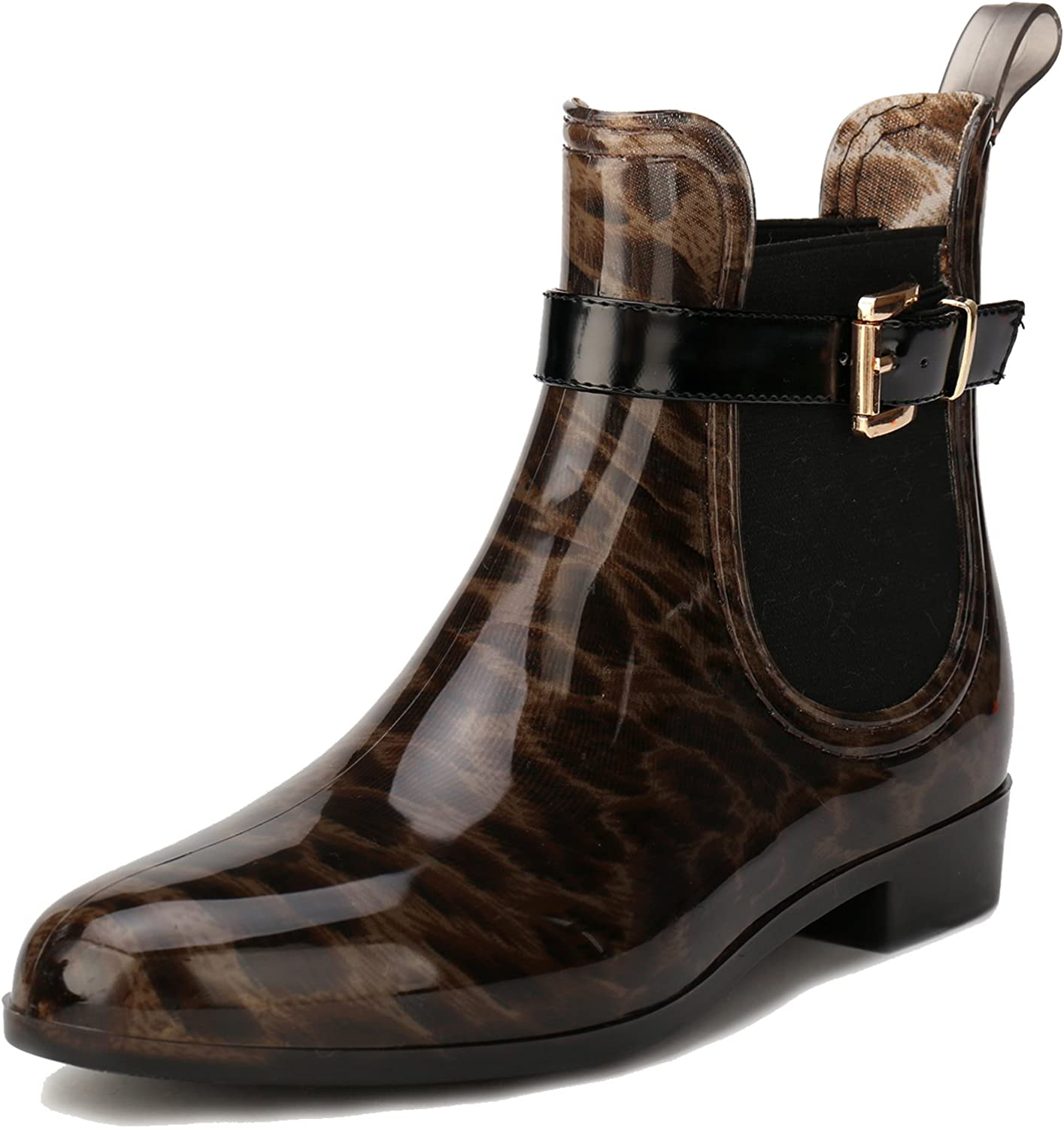 Alexis Leroy Womens Round Toe Diamond Buckle Style Waterproof Elastic Rubber Ankle Rain Boots