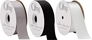 Offray Double Face Satin - 3 Pack Bundle - Monochrome - 1.5 inch by 10 Yards Each (#9) - White + Silver + Black