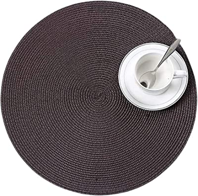 helegeSONG Round Woven Placemat Washable Dining Table Mat Disc Bowl Pad Coaster Waterproof Decor - Coffee