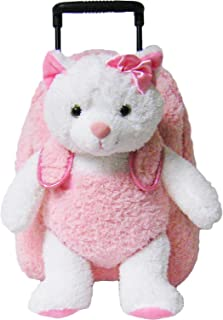 Kreative Kids Pink Kitty Cat Rolling Backpack w/Removable Stuffed Toy & Wheels