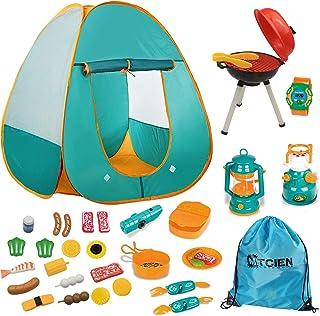 Mitcien - Tienda de campaña para niños, tienda de campaña con accesorios para barbacoa, herramientas de camping para niños y niñas para interior y exterior