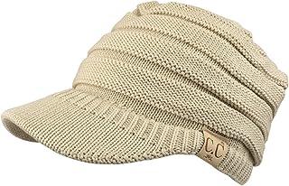 Trendy Apparel Shop Women's Lightweight Ribbed Knit Brim Ponytail Visor Beanie Cap