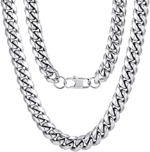 ChainsPro Men Chunky Miami Cuban Chain Necklace, Custom Available, 6/9/14mm Width, 18