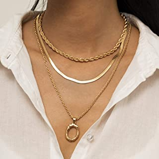 YERTTER Retro Multi-layer Round Ring Twist Chain Necklace O Ring Pendant Necklace Set for Women Girls (Gold)