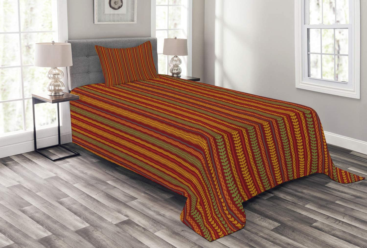 Ambesonne Oriental low-pricing Bedspread Folklore Rhom Geometric Motif Free shipping with