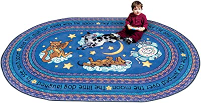 """Joy Carpets Kid Essentials Infants & Toddlers Round Hey Diddle Diddle Rug, Blue, 5'4"""""""