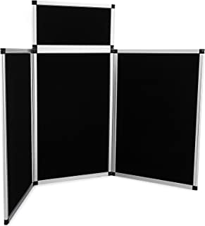 VEVOR Trade Show Display 3+1 Panels Display Panel 72x43.5Inch Aluminum Alloy Frames Folding Trade Show Display with Black Fabric (3+1 Panels 72x43.5Inch)