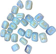 Winmaarc Aventurine Verte pierres de runes Pendentif gravé Inscription Cristal de guérison Chakra Reiki
