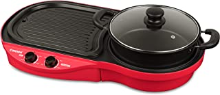 Cornell 2-in-1 Table Top Grill and Hot Pot Set,CCGEL88DT,Red/Black